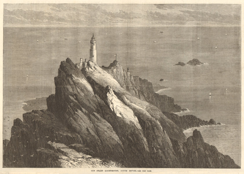 Associate Product The Start lighthouse, south Devon 1868 antique ILN full page print