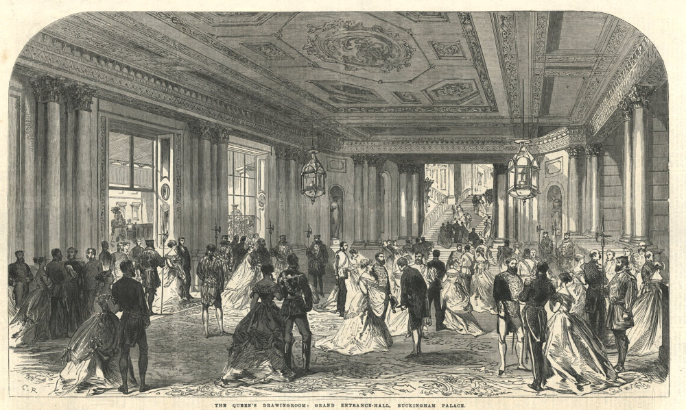 Associate Product Queen Victoria's drawing Room: Grand entrance hall, Buckingham Palace 1868