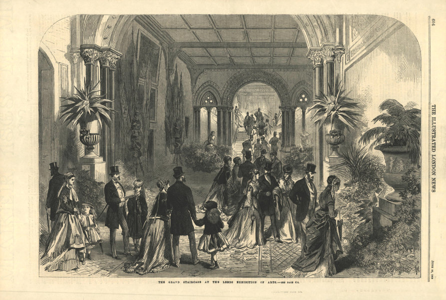 The grand staircase at the Leeds Exhibition of Arts. Yorkshire. Buildings 1868