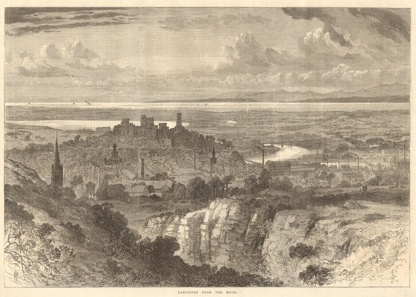 Associate Product Lancaster from the moor. Lancashire 1868 antique ILN full page print