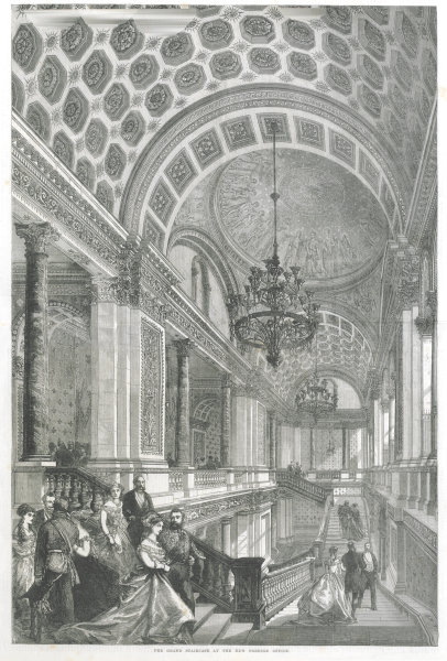 Associate Product The grand staircase of the new Foreign Office. London 1868 ILN full page print