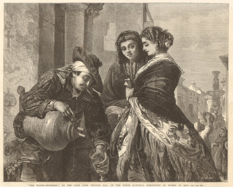 """Associate Product """"The water-drinkers"""" by the late John Phillip, R. A. 1868 ILN full page print"""
