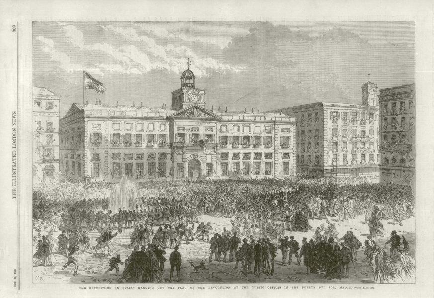 Glorious Revolution Spain: Flag hung, Puerta del Sol, Madrid 1868 ILN print