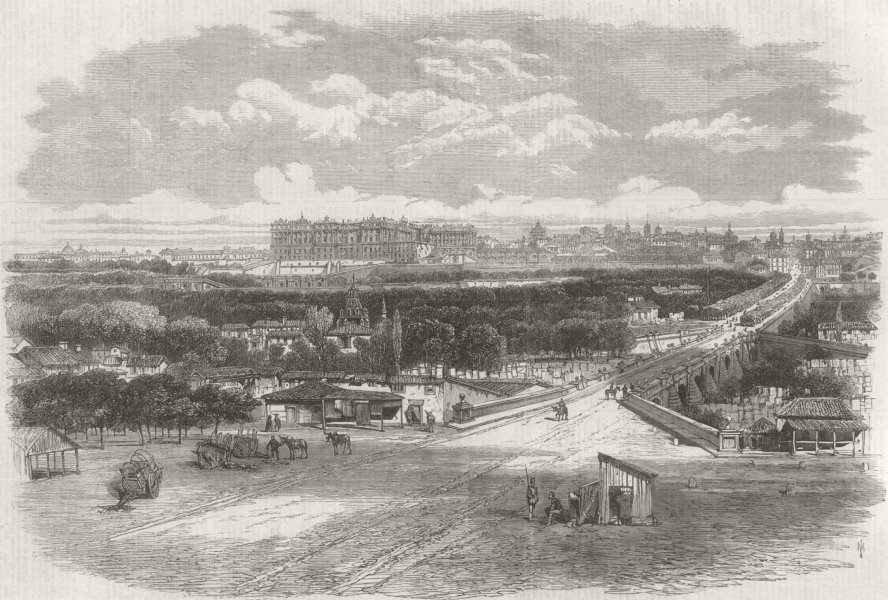 Glorious Revolution: The Royal Palace, Madrid. Spain 1868 ILN full page print