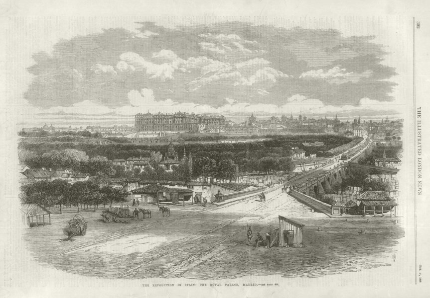 Associate Product Glorious Revolution: The Royal Palace, Madrid. Spain 1868 ILN full page print