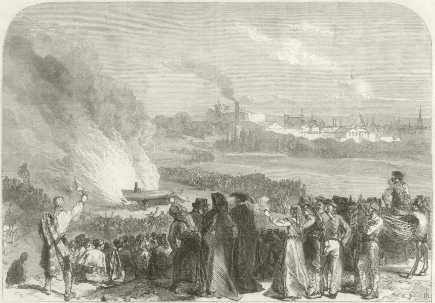 Associate Product Glorious Revolution: Burning the garrotting scaffold at Madrid. Spain 1868