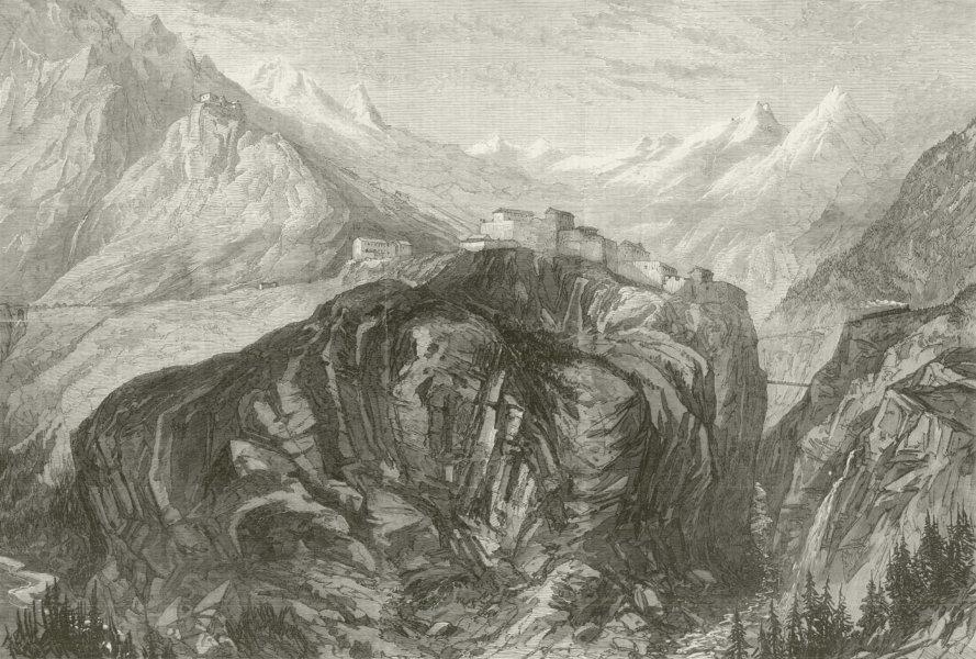 Associate Product Mont Cenis railway. Fort l'Esseillon at Brabans. Fréjus Rail Tunnel. Savoie 1869