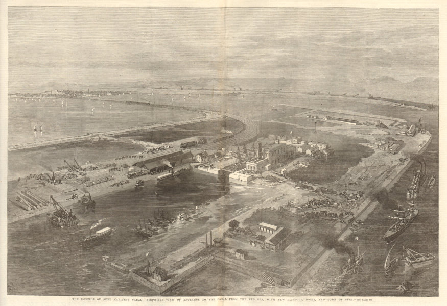 Associate Product Bird's eye view from the Red Sea of harbour, town & Suez canal. Egypt 1869