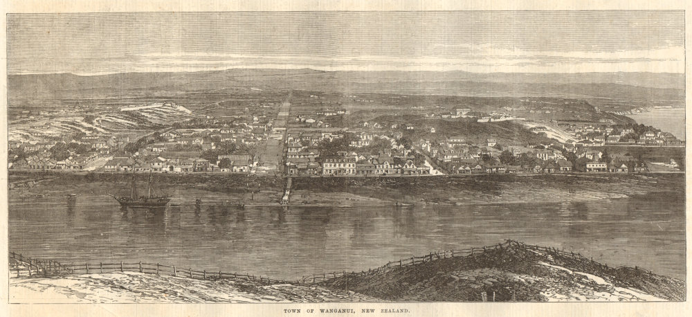 Associate Product Town of Wanganui, New Zealand 1869 antique ILN full page print