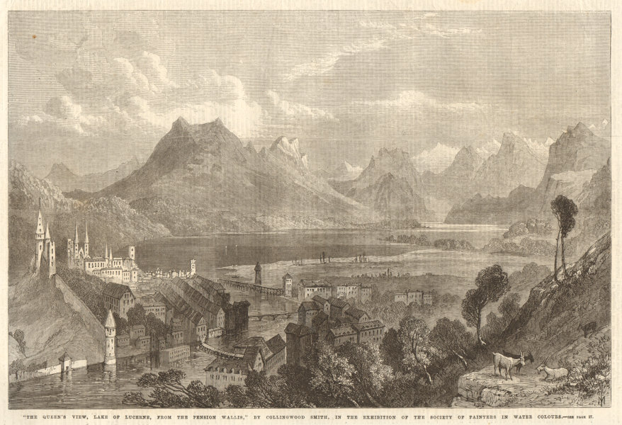 """Associate Product """"Queen Victoria's view, Lake Lucerne, from the Pension Wallis"""", by C. Smith 1869"""