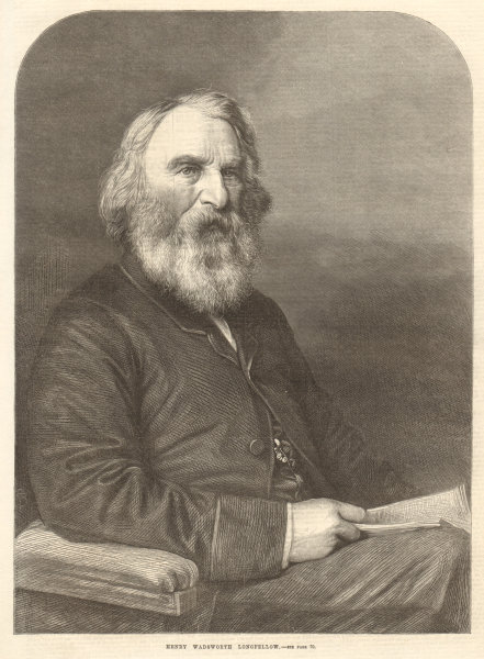 Associate Product Henry Wadsworth Longfellow. Poets. USA 1869 antique ILN full page print