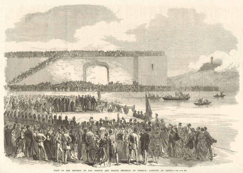 Associate Product The French Empress & Prince Imperial landing at Bastia, Corsica 1869 ILN print