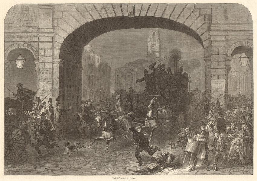 Associate Product Fire engine. Temple Bar. Fleet Street, Strand. London. Disasters 1869