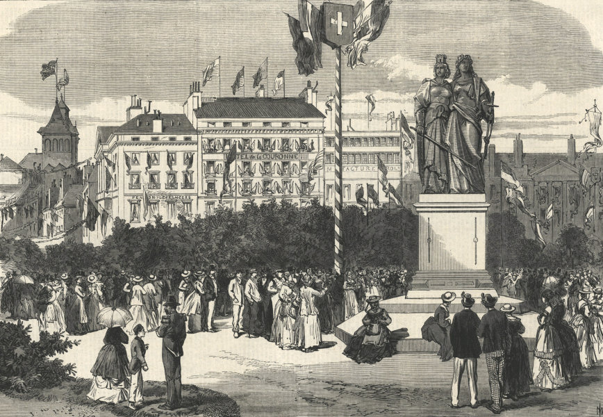 Associate Product Monument of Union of Geneva with the Swiss Confederation. Switzerland 1869
