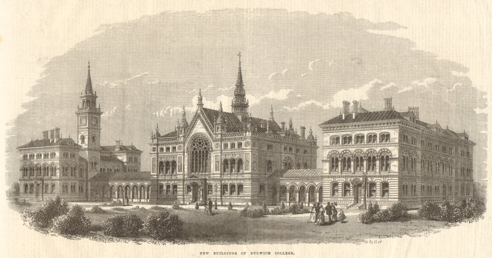 Associate Product New buildings of Dulwich College. London. Education 1869 antique ILN full page