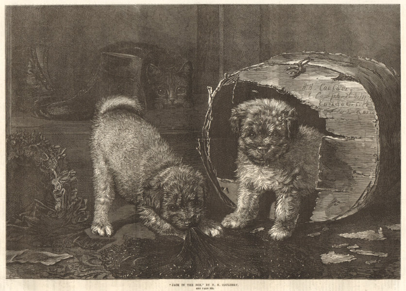 """Associate Product """"Jack in the box"""", by H. H. Couldery. Dogs. Fine Arts 1870 ILN full page print"""