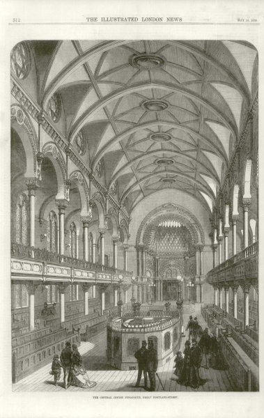 Associate Product The Central Jewish synagogue, Great Portland Street. London 1870 ILN full page