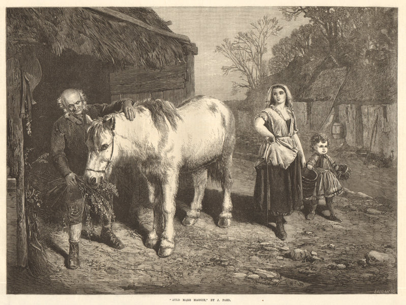 """Associate Product """"Auld mare Maggie"""", by J. Faed. Family. Horses 1870 antique ILN full page print"""