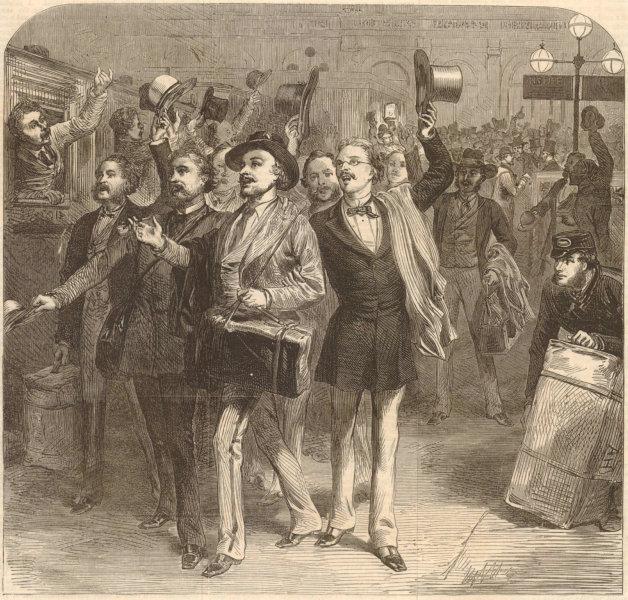 Associate Product Franco-Prussian War: Prussians leaving Charing-Cross railway station London 1870