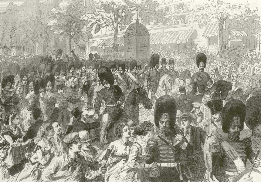 Associate Product Franco-Prussian War: Grenadiers of the Guard boulevard railway stn. Paris 1870
