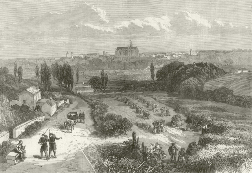 Associate Product Franco-Prussian War: Metz from the Thionville Road. Moselle 1870 ILN full page