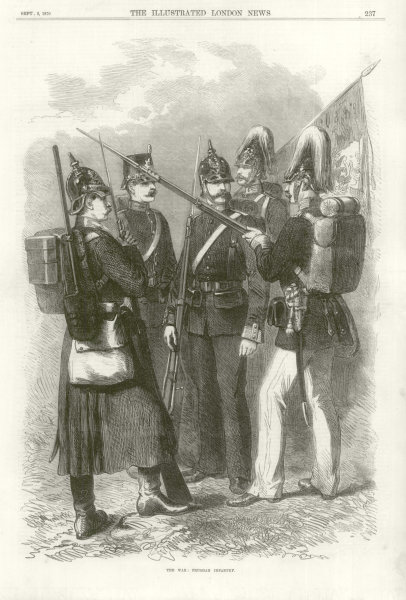 Associate Product Franco-Prussian War: Prussian Infantry. Militaria 1870 antique ILN full page