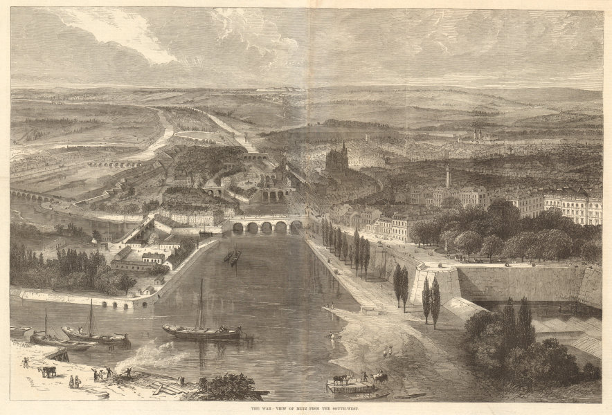 Associate Product The war: view of Metz from the south-west. Moselle 1870 antique ILN full page