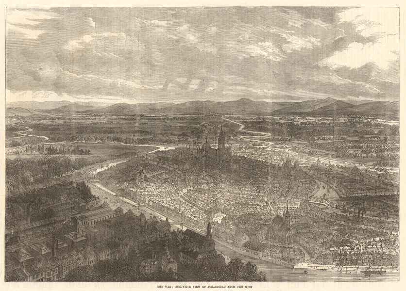 Associate Product The war: bird's eye view of Strasbourg from the west. Bas-Rhin 1870 ILN print