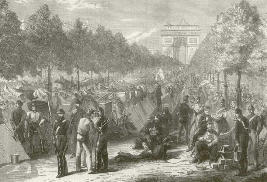 Associate Product Franco-Prussian War: Troops encamped in the Champs Elysees, Paris 1870