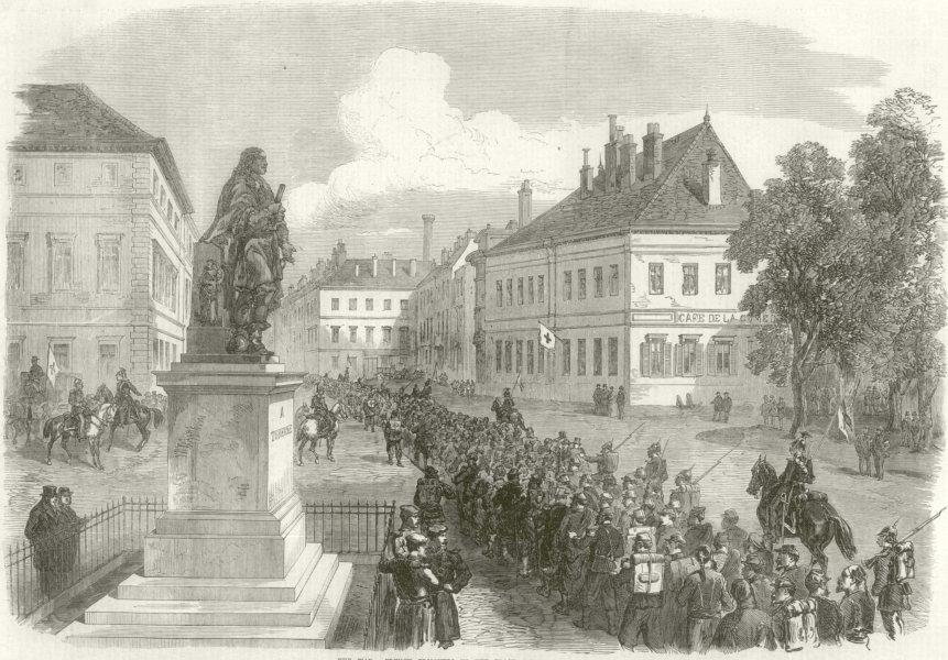 Associate Product Franco-Prussian War: French prisoners, Place Turenne at Sedan. Ardennes 1870
