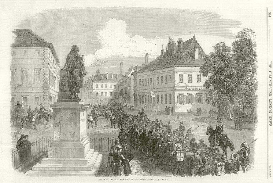 Franco-Prussian War: French prisoners, Place Turenne at Sedan. Ardennes 1870