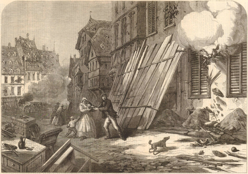 Associate Product Franco-Prussian War: Streets of Strasbourg during the Siege. Bas-Rhin 1870