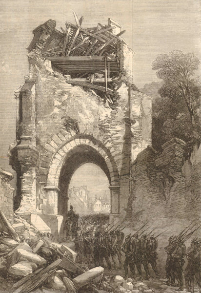 Associate Product Franco-Prussian War: Fall of Strasbourg. German troops at the Porte Blanche 1870