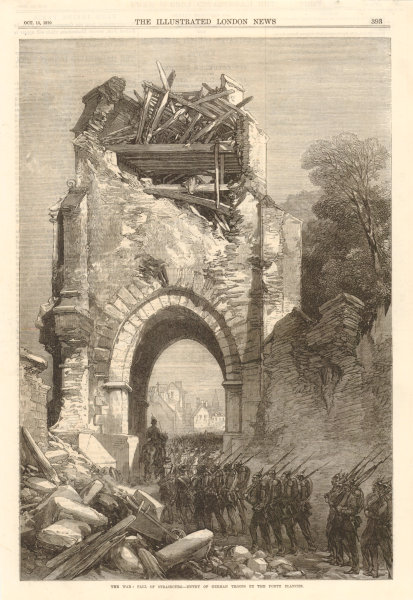 Franco-Prussian War: Fall of Strasbourg. German troops at the Porte Blanche 1870