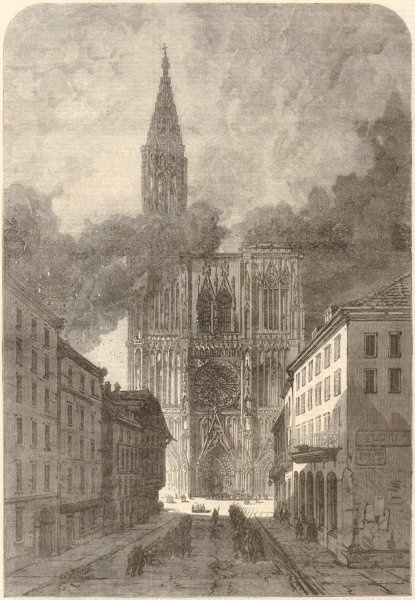 Associate Product Franco-Prussian War: Strasbourg Cathedral. Bas-Rhin 1870 antique ILN full page