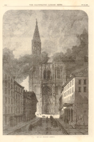 Franco-Prussian War: Strasbourg Cathedral. Bas-Rhin 1870 antique ILN full page