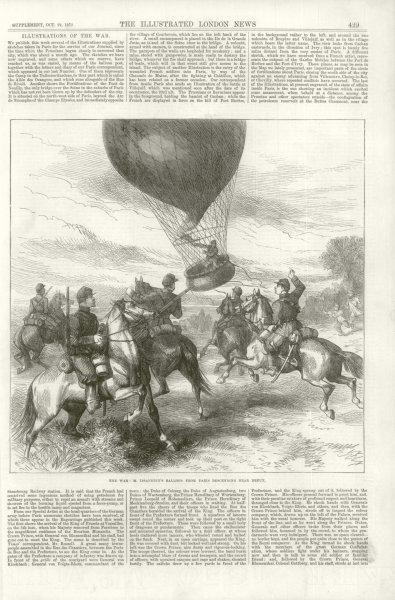 Associate Product Franco-Prussian War: Issandier Paris balloon descending Dreux. Eure-et-Loir 1870