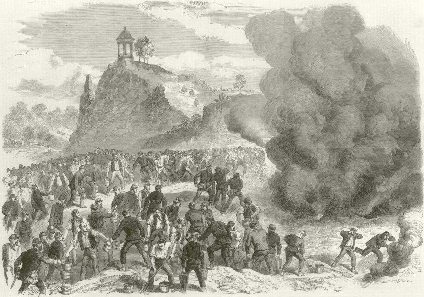 Associate Product Franco-Prussian War: Paris burning petroleum reservoir Buttes Chaumont 1870
