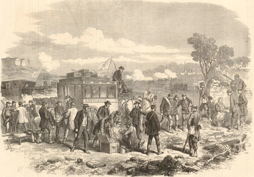 Associate Product Defence of Paris: Ambulance Internationale tending wounded soldiers 1870