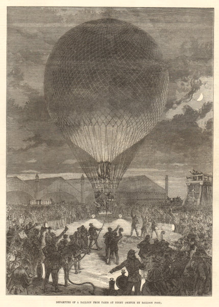 Associate Product Departure of a balloon from Paris at night. Paris Commune 1870 ILN full page