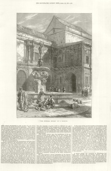 """Associate Product """" Old Fountain, Seville """" by T. Macquoid. Spain 1871 antique ILN full page"""