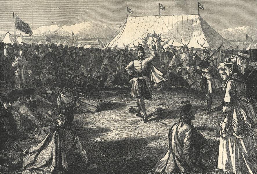 Associate Product Amusements in the camp of the London Scottish, Wimbledon. Dance 1871 ILN print