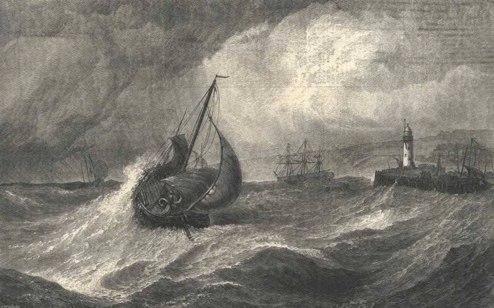 Freshening gale, Scarborough. Fishing boats returning to harbour. Yorkshire 1871