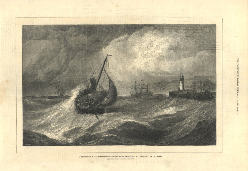 Associate Product Freshening gale, Scarborough. Fishing boats returning to harbour. Yorkshire 1871