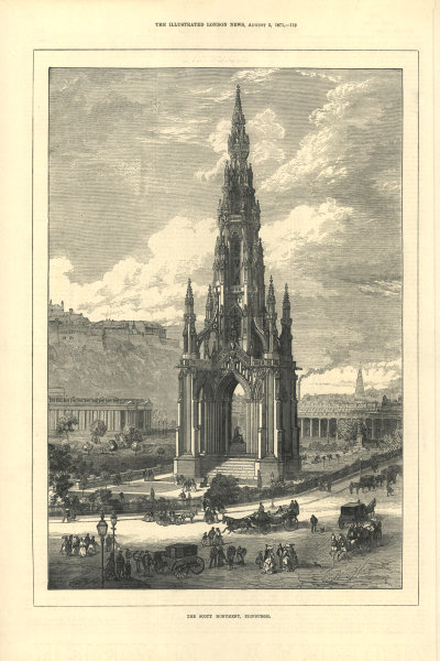 Associate Product The Scott Monument, Edinburgh. Scotland 1871 antique ILN full page print