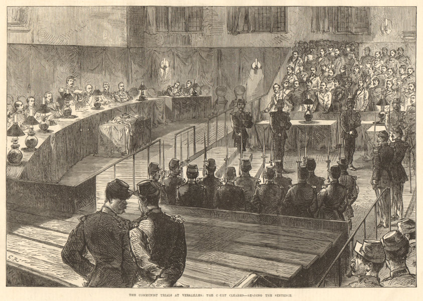 Associate Product The communist trials at Versailles: Sentencing. Paris Commune 1871 ILN print
