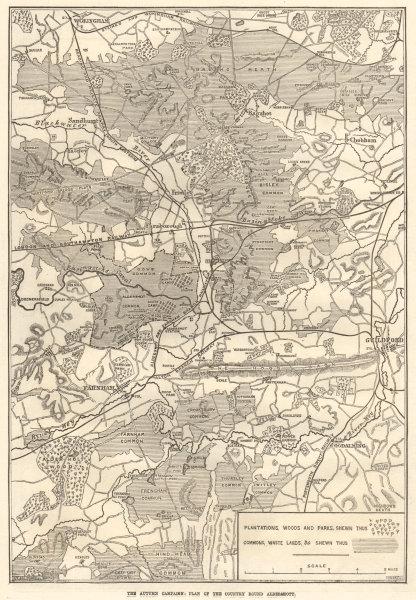 Associate Product British Army Manouevres Aldershot Sandhurst Guildford Bagshot Godalming 1871 map