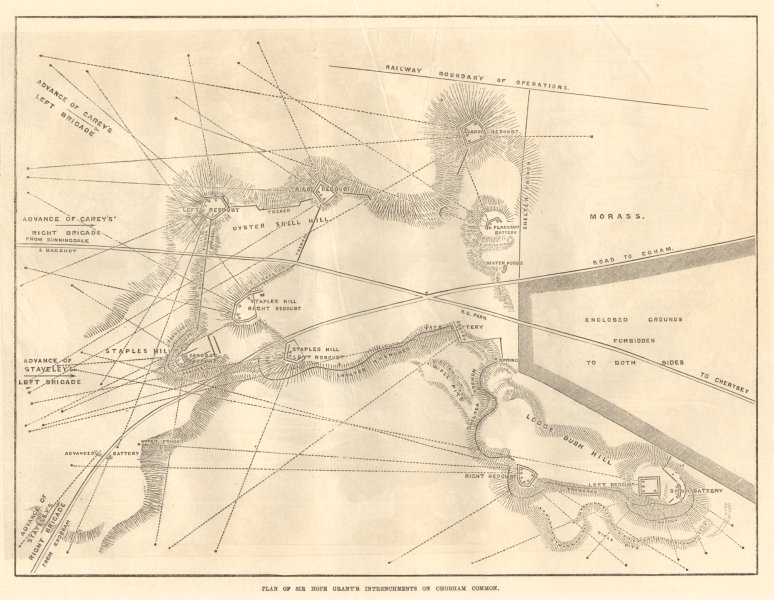 Associate Product Sir Hope Grant's intrenchments on Chobham Common. Surrey. British Army 1871 map