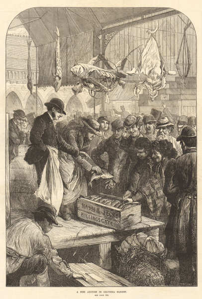 Associate Product A fish auction in Columbia Market. London 1871 antique ILN full page print