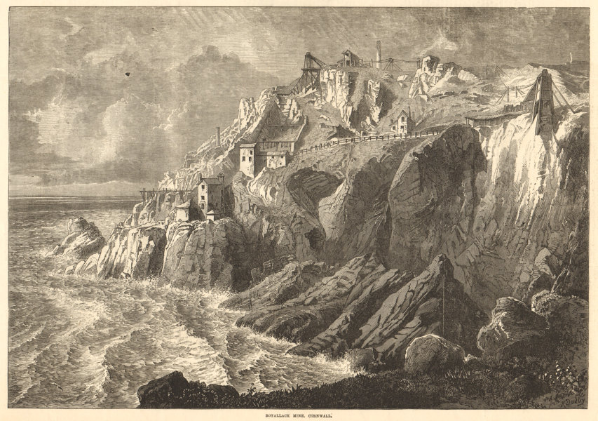 Associate Product Botallack mine, Cornwall. Mining 1872 antique ILN full page print
